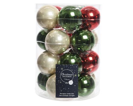 Kerstbal Glas Mix Glanzend Emaille mix groen/Rood - Dia6Cm
