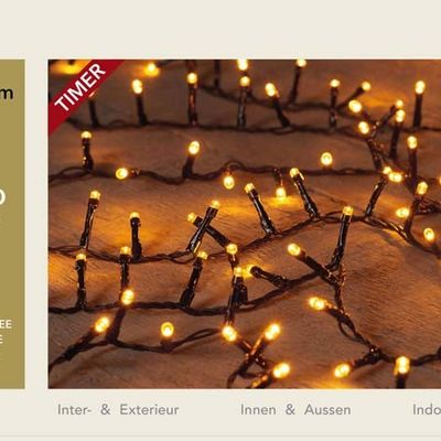 Anna's Collection Led Classic Ivy 1200 Led / 26 Meter Zwart Met Timer