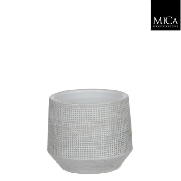 Mica Decorations Guido Pot Rond Off White H13xd15 Cm