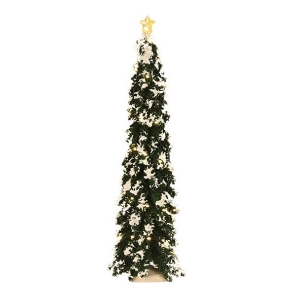 Luville Snowy Conifer With Lights - 34x9 Cm