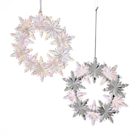 Pink/Clear Iridescent Wreath Snowflake 5.3 Inch