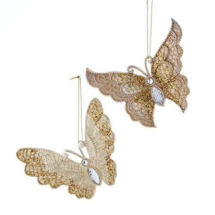 Gold/Ivory Butterfly With Glitter 5.2 Inch