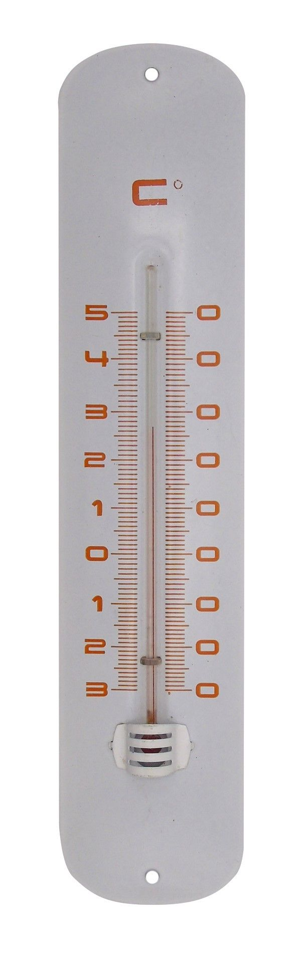 Nature Muurthermometer Metaal Wit 30x6,5x1 Cm