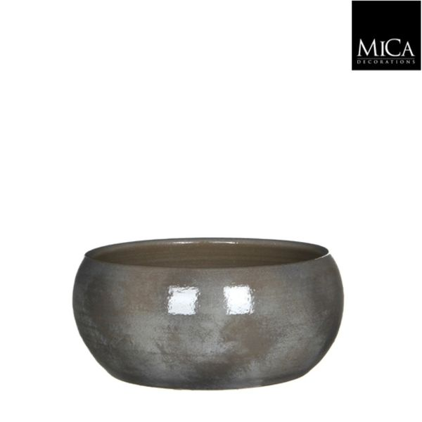 Mica Decorations Lester Schaal Rond Donkergrijs H12xd28 Cm