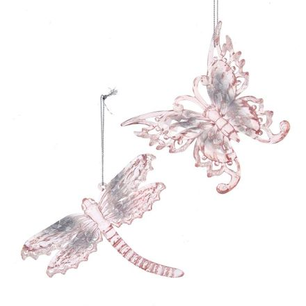 Pink/Clear Butterfly& Dragonfly 4.9 Inch
