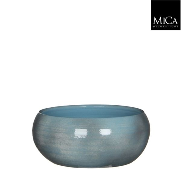 Mica Decorations Lester Schaal Rond Blauw H12xd28 Cm