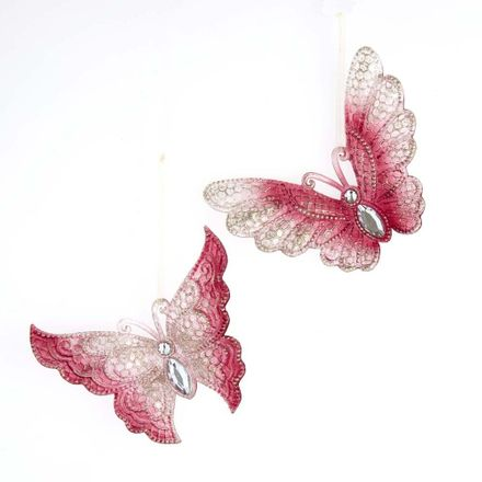 Burgundy Butterfly With Glitter 5.2 Inch