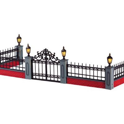 Lighted Wrought Iron Fence Lemax